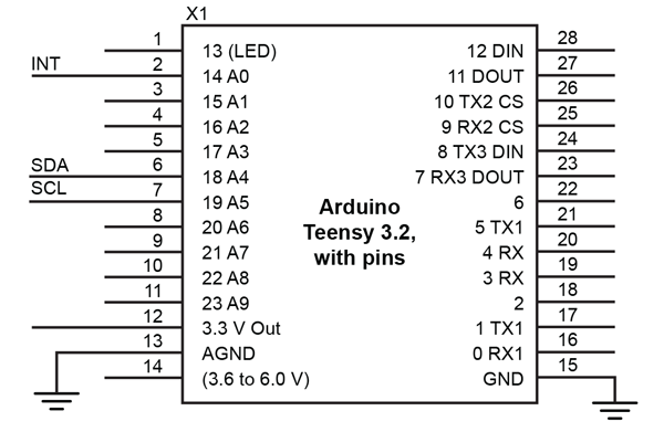 Figure 12: Teensy 3.2 Application Schematic