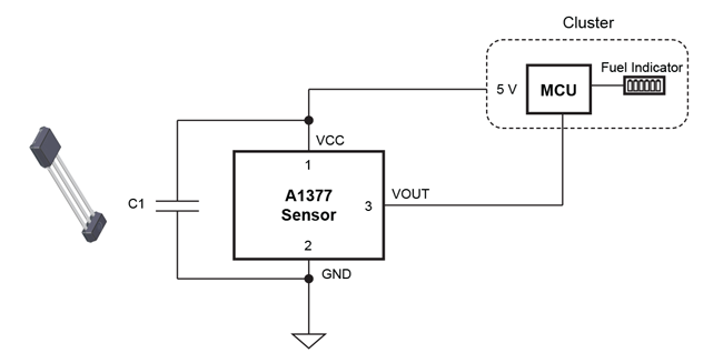 Figure 10: Linear Analog Hall-Effect Sensor-Based Digital FLS Using A1377