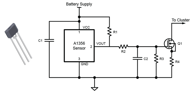 Figure 5: Circuit to Convert PWM Output of A1356 to Current