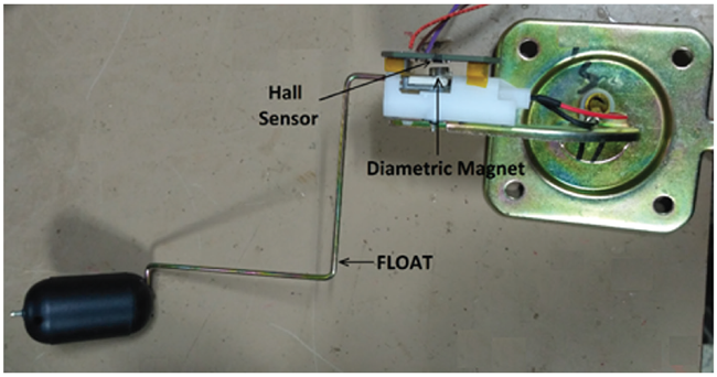 Figure 6: Arrangement of Hall Sensor and Magnet on the Fuel Sensor Assembly