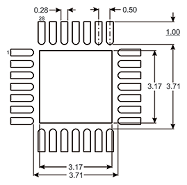 Figure 1: PCB Land Layout for 5 mm X 5 mm 28-Lead PQFN
