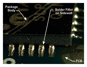 Figure 9: Visually Inspectable Solder Fillet (245ºC, 40 mil pad length, 8-hr steam preconditioning)