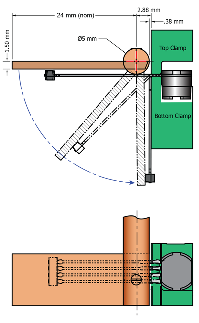Figure 18. The center of rotation is indicated by the red centerlines in the upper panel; in this example, the rod supporting the paddle blade has a 5 mm diameter where it passes by the package.