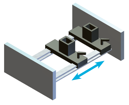 Figure 8. Commercial linear bearing mechanisms can be used for swapping tools in-line.