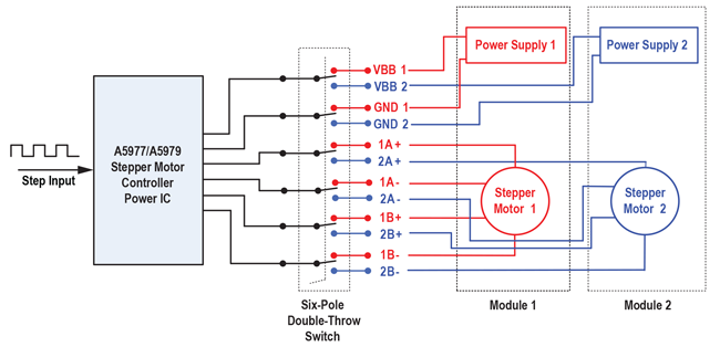 Figure 1: Test connection for hot-swap testing of stepper motor driver