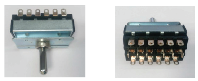 Figure 3: A six-pole, double-throw switch showing front view (left) and rear view (right)