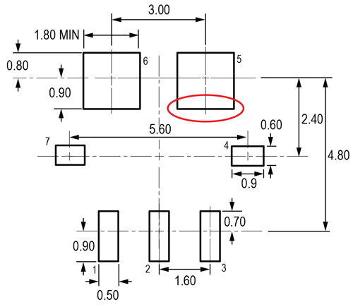 Figure 10: ACS780 PCB Layout Reference View. Adjust as necessary to meet application process requirements and PCB layout tolerances; critical dimension circled in red.