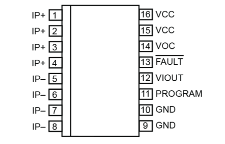 Figure 1: ACS733 Pinout in LA 16-Pin SOICW Package