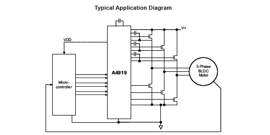 A4919: Three Phase MOSFET Driver with Integrated Regulator