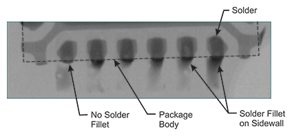 Figure 10: X-ray of Solder Fillets at Sidewall Terminations