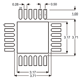 Figure 2: PCB Land Layout for 4 mm X 4 mm 24-Lead PQFN